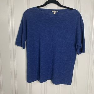 Eileen Fisher Blue Top Size Petite M Linen Blend